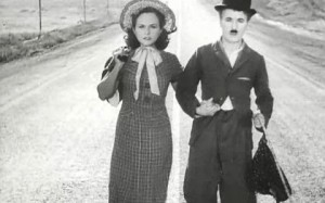 Charlie Chaplin and Paulette Goddard in the final scene of Modern Times